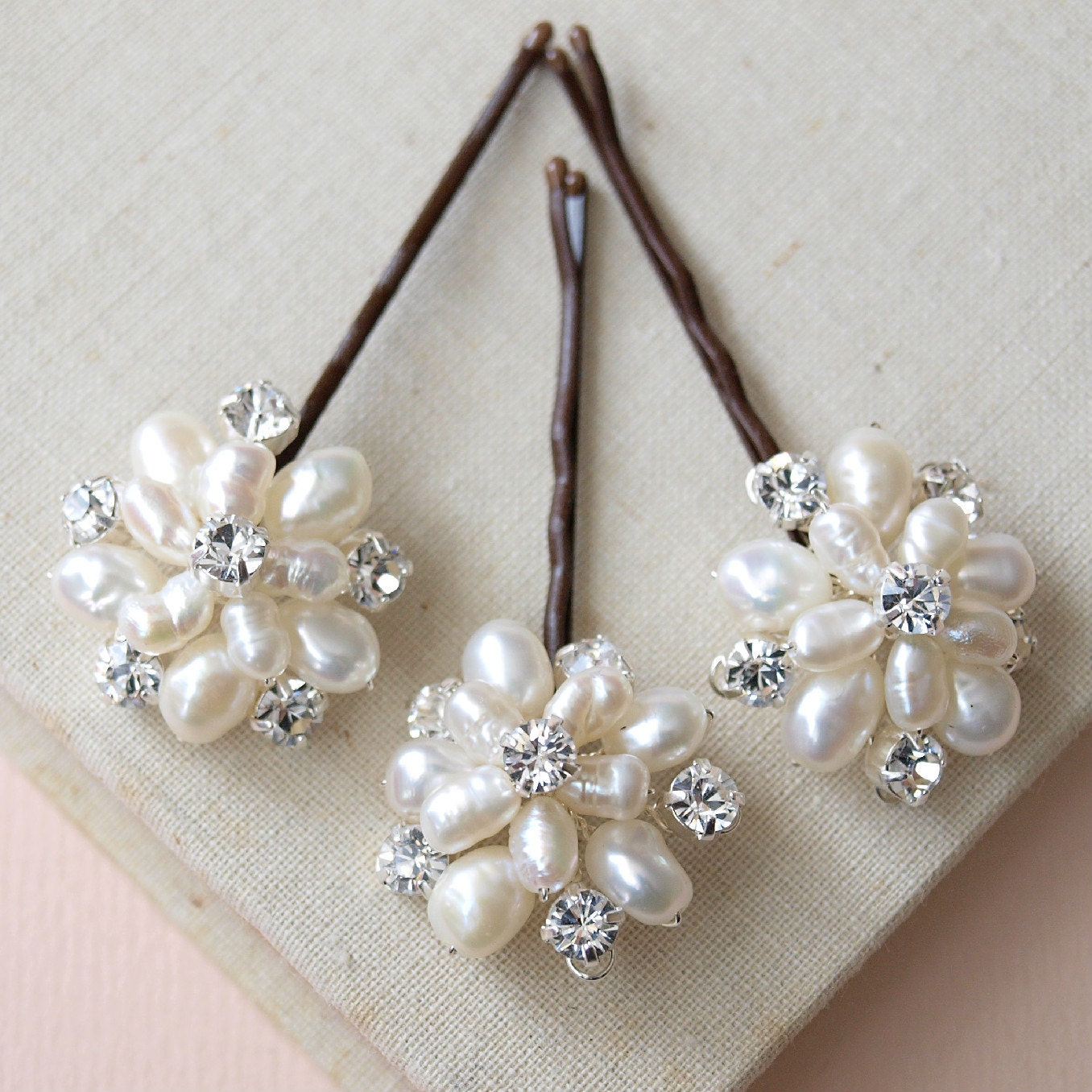 Flora Pearl Hair Pins Wedding Hair Accessories Bridal Flower