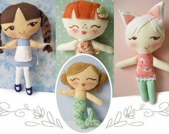 DIY Lolly Dollies PDF sewing pattern plush girl mermaid kitty