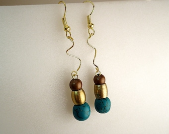 Stylish Earrings with Brass and Turquoise.