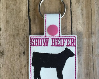 Show Heifer Key Fob, Pink Cow Key Chain 4H