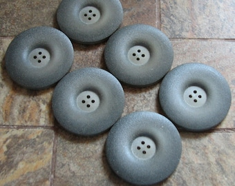 6 Vintage Extra Large Gray Coat Sweater Jacket Buttons Knitting Sewing Crochet Scrapbooking Craft Supplies