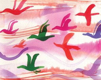 "Birds flying high Watercolor home decor 5x7"""
