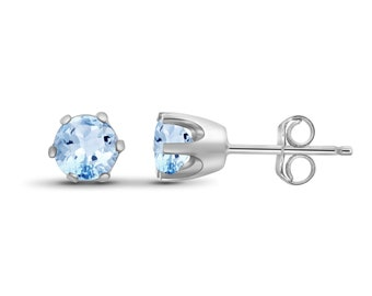 0.60ctw Genuine Sky Blue Topaz Gemstone Sterling Silver Stud Earrings