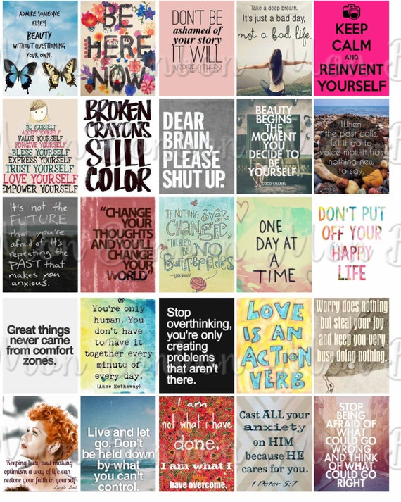 Anxiety motivational quotes sticker sheet printable printable quote sheet for life planner fits erin condren life planner instant dl from monbonbon on