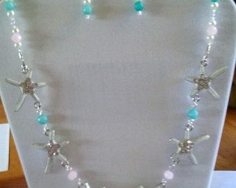 Starfish Necklace, Earrings, Czech, Powder Pink, Seafoam, Under 25.00