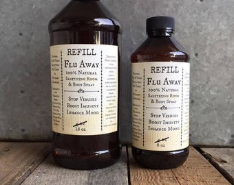 Flu Away Virus Protection Sanitizing Back to School Essential Oil Aromatherapy Spray 8 and 16 oz REFILL
