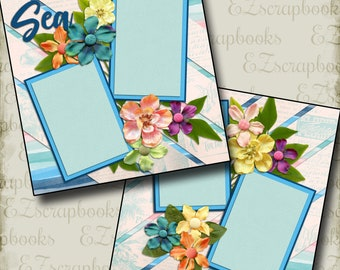 SEA - 2 Premade Scrapbook Pages - EZ Layout 2078