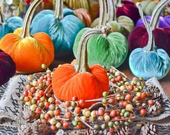 1 Small Sunset Orange Silk Velvet Pumpkin, Fall Decor, Table Centerpiece, Homemade Rustic Decoration