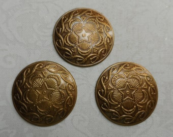 """Vintage gold plate brass stamped brass discs,7/8th"""",3pcs-KC10S"""
