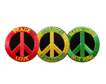 Peace Sign Symbol Make Love Not War Embroidered Applique Iron on Patch