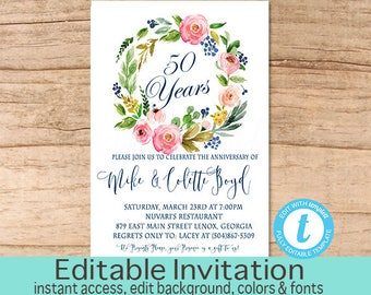 50th anniversary invitation anniversary party invitation 50th anniversary invitation anniversary party invitation floral anniversary invitation editable invite instant download stopboris Images