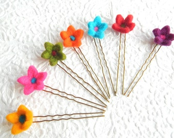 Bright floral hairpins, use for updos, wavy hair curly hair wear, accent flat twists, party hair jewelry, flower bridal hair accent