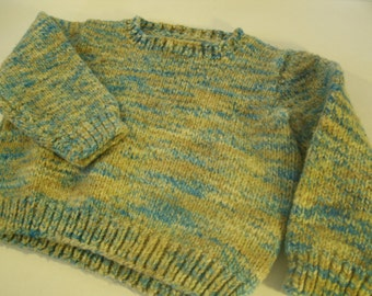 Handmade Children's Sweater Pullover Small Size 2 3 4 5 6 Vintage Child's Outerwear Hand Knit Multi Color Blue Tan Beige
