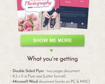 Photographer Flyer Design, Wedding Flyer Design, Letter Size Flyer Template, Double Sided Brochure, Word Flyer Template, Printable Flyer