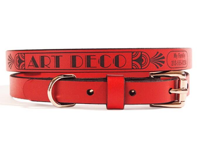 ID DOG COLLAR - Small - Art Deco Design - Custom Leather