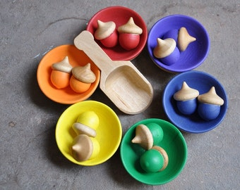 Rainbow Sorting Acorns - A Waldorf and Montessori Inspired Educational Toy (K)