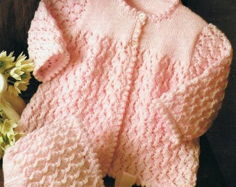 Baby Knitting Pattern PDF Download, Lacey Coat/Cardigan with matching Bonnet, knitted in 6 or 4 ply yarn, to fit 41-51 cm chest