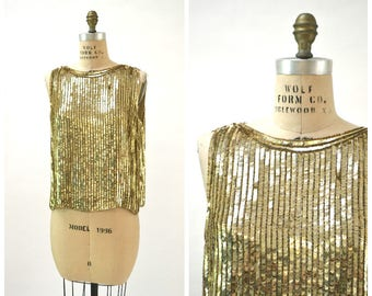 Vintage Metallic Gold Sequin Shirt Tank Top Gold Size Large XL// Vintage Gold Sequin Shirt Top Shirt Plus size