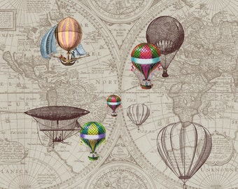 """Hot Air Balloon Fleece Blanket - """"Airships"""" steampunk throw blanket -  brown and tan , sofa, couch, bed, travel decor,  winter, warm maps"""