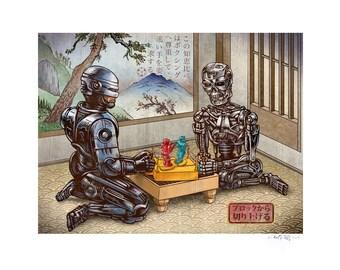 Rock Em Sock Em 11 x 14 Signed Print -Robo Cop Terminator Rock Em Sock Em Robots Japanese Style