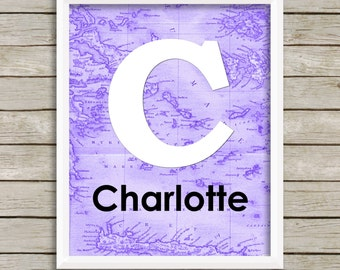 baby girl nursery wall art, lavender purple nursery decor girl travel adventure nursery custom name print personalized baby map letter art