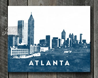 Atlanta Print - INSTANT DOWNLOAD Atlanta Skyline Poster - Atlanta Art - Atlanta Gifts - Blue Downtown Atlanta Wall Art - City Skyline Decor