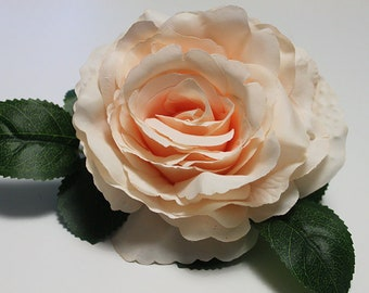 Rose Hair Clip / Fascinator in Peach