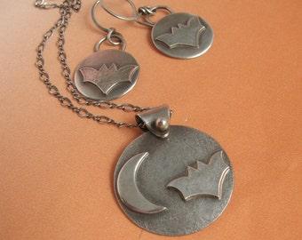 Sterling Silver Bat Earrings, Sterling Silver Bat Necklace, Bat Jewelry Set, Nature Jewelry, Halloween Jewelry, Halloween Earrings, Necklace