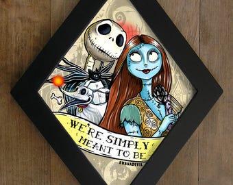 Sally and Jack (The Nightmare Before Christmas) diamond framed print