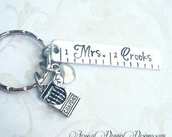 Teacher Keychain - Personalized Hand Stamped Ruler - Teacher Gift - Thank you Teacher - Kindergarten Teacher Gift - Preschool - 1st Grade