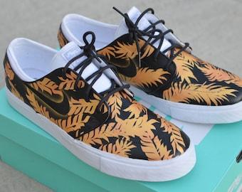 Custom Black & Gold Tropical Floral Nike SB Zoom Stefan Janoski - Hand Painted