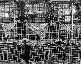 Fine Art Photography, Beach Photograph, Wall Decor, Lobster Cages, Still Life Photo, Ocean Print, New England, Coastline, Black, White, Grey