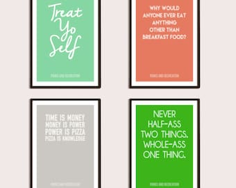 Parks and Rec 4 Pack Posters Print Digital Download, Printable, Typography Print, Wall Art, Home Decor, Gifts