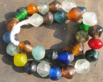 African recycled glass beads, (25/26 mm diam), 5 bicone beads, assorted colors