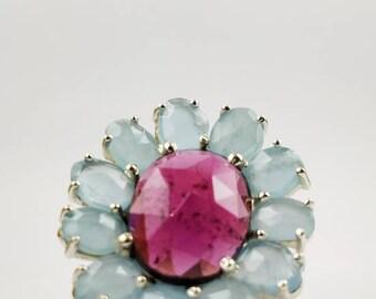 HandMade Sterling Silver Gemstone Ring - Garnet & Aquamarine
