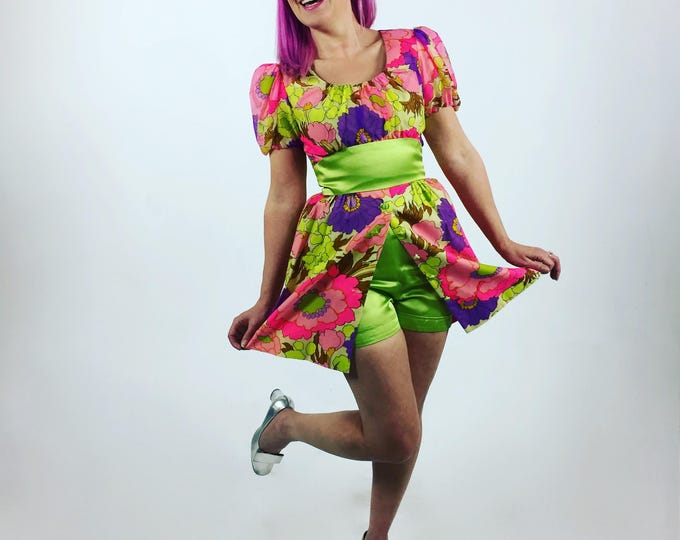 1960's Hot Pants // Vibrant Floral Mini Tunic and Hot Pants // 60's Mod Short Shorts and Dress