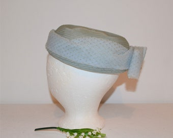Vintage 1950's Light Diamond Blue Hat with Bow