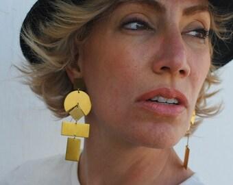 Gold Earrings / Statement earrings / Big earrings / Geometric earrings / Gold Earrings / Boho Jewelry /  Tribal / Chunky Earrings / LORI