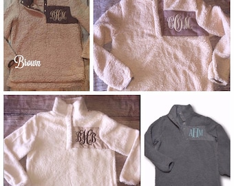 Monogrammed Sherpa Pullover, Sherpa Pullover, Women's Pullover, Sherpa Pullover Monogram, Monogrammed Pullover, Monogram, Sherpa Jacket