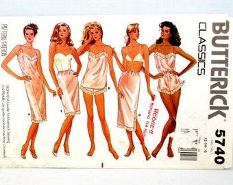 Butterick 5740 Ladies Misses Petite Slip Camisole Panties Teddy & Half-Slip Multi Size 12-14-16 Bust 34-36-38 Vintage Lingerie Uncut 1987
