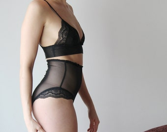 sheer lingerie set with lace trimmed bralette and high waisted panties JESTER - made to order