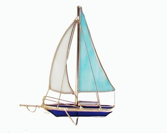 Handmade 3D Stained Glass  Sailboat