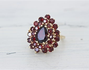 Vintage Garnet Ring, 14k Yellow Gold Gemstone Rings for Women, Large Bohemian Cocktail Ring, January Birthstone Jewelry Gift for Her Size 6