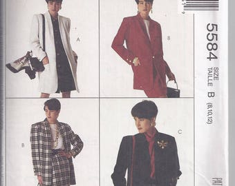 McCall's 5584  Sewing pattern from 1991 Misses Lined or Unlined Coat or Jacket,.   Bust 31 1/2-34