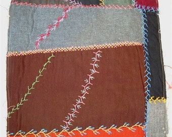 """Embroidered Crazy Quilt Fabric, 16"""" Cutter Square to Re-Purpose"""