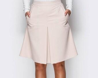 Spring skirt folds Women skirt office Classic skirt women Midi skirt pink Trapeze skirt Beige a line skirt Everyday skirt