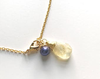 Faceted Citrine Briolette and Violet Freshwater Pearl Charm Bracelet on 14k Gold