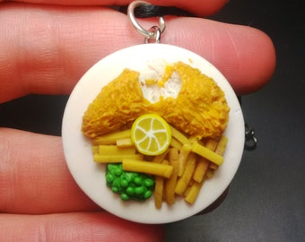 Fish n Chips with Mushy Peas Pendant, Miniature Food, Fimo Polymer Clay