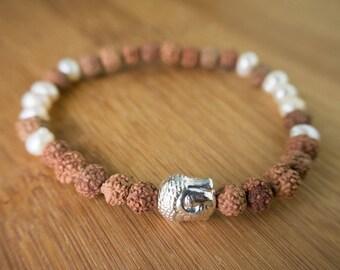 Buddha Bracelet, rudraksha beads, sweat water pearl