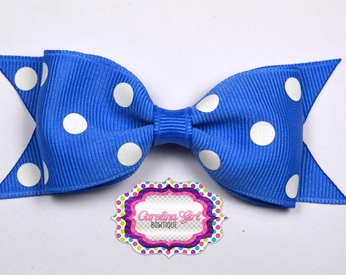 "Capri Blue Dots Tuxedo Bow ~ 3.5"" Hairbow ~ Small Hair Bow ~ Girls Barrette ~ Toddler Bow ~ Baby Hair Bow ~ Hair Clip ~ Girls Hair Bow"